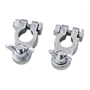 Zinc Wing Nut Battery Terminal Clamps (Pair)