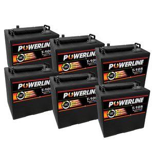6 x T105 Powerline Deep Cycle Batteries 225Ah